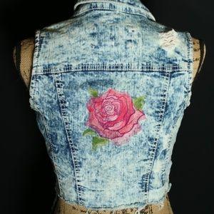 Rue 21 Acid Wash Crop Vest Custom sz SM